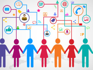 People holding hands under cloud with social media communication icons with arrows going up and down on blue background. Vector file available.