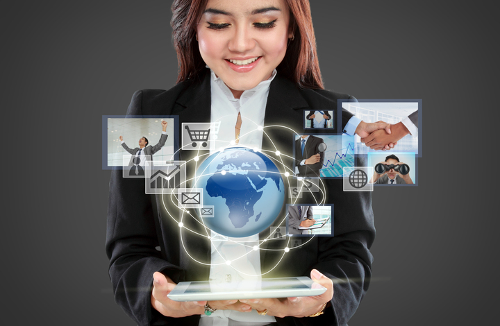 Young businesswoman navigating in virtual reality interface